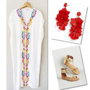MO HUAN YI CHU WHITE EMBROIDERED CRUISE MAXI DRESS